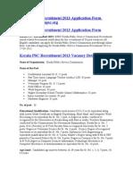 Kerala PSC Recruitment 2013 Application Form Www.keralapsc.org