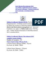 Odisha Livelihoods Mission Recruitment 2013 Www.tripti.org Online Application Form-Andhra Pradesh, Block Project Manager, Odisha Livelihoods Mission, Project Assistant, Recruitment 2013,