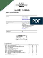 Plan de estudios. Grado en Economía