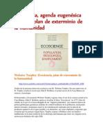 Ecociencia, agenda eugenésica global y plan de exterminio de la humanidad