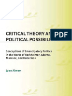 Critical Theory and Political Possibilities Horkheimer Adorno Marcuse and Habermas