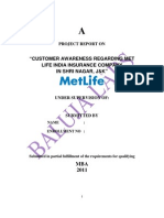 Project Customer Awareness Regarding Met Life India Insurance Company