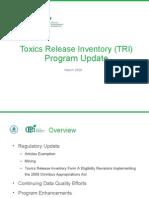 TRI Program Update - Ingrid Rosencrantz