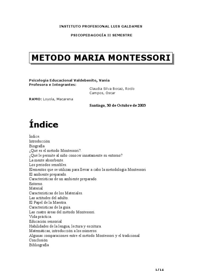 metodo montessori resumen pdf