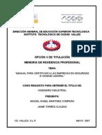 Manual Para Certificar a Las Empresas en Seguridad e Higiene Laboral