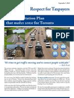 Rob Ford Transportation Plan Sept 2010