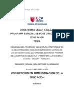 """INFLUENCIA DEL PROGRAMA """"MIS LECTURAS PREFERIDAS"""" EN EL DESARROLLO DEL NIVEL DE COMPRENSIÓN LECTORA DE LOS ESTUDIANTES"""