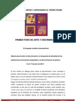 PRIMER FORO DE ARTE Y DISCRIMINACIÓN-INVITACION A TALLERES