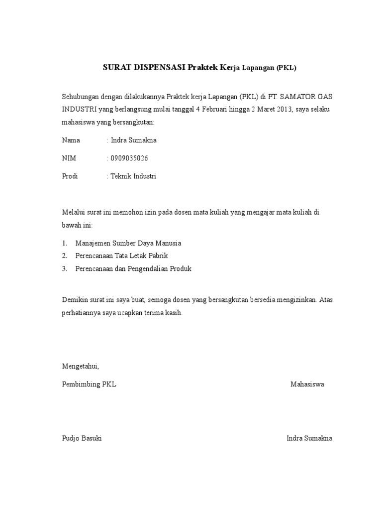 Surat Izin Praktek Kerja Lapangan Indra
