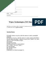 Wipro Paper 2003 NIT Durgapur