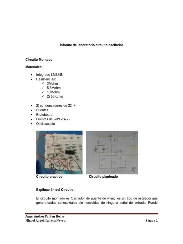 Circuito Oscilador : Informe de laboratorio circuito oscilador