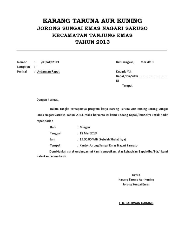 surat undangan rapat karang taruna aur kuning 2013 docx