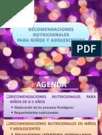 RECOMENDACIONES NUTRICIONALES PARA NIÑOS Y ADOLESCENTES