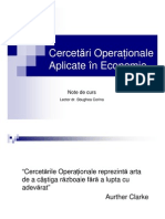 Cercetari Operationale Aplicate in Economie