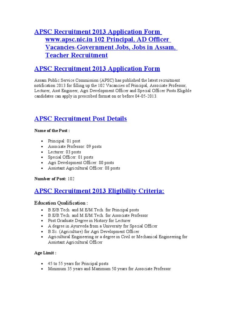 Apsc Recruitment 2013 Application Form Apscc 102 Principal