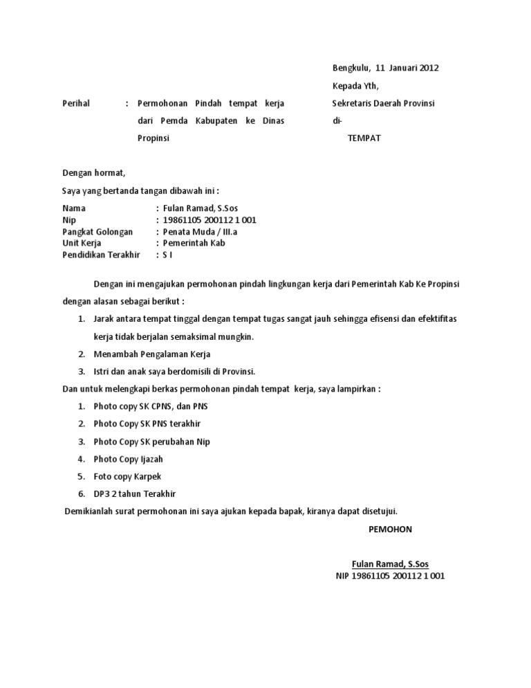 Contoh Surat Permohonan Rekomendasi Pindah Tugas Kumpulan Surat Penting