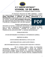 A Todos Paro Nacional 16 de Abril Instructivo