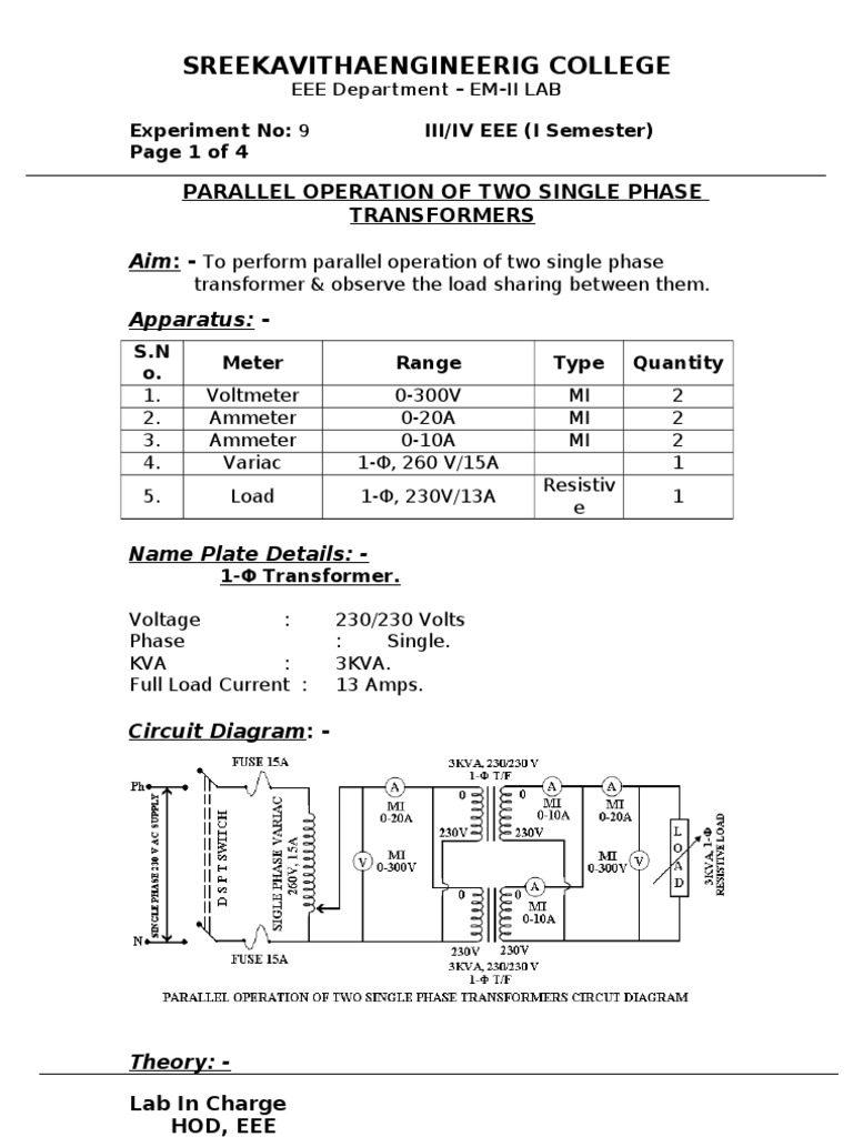 Diagram Single Phase Transformer Series Electrical Wiring Diagrams 3 Delta 9 Parallel Operation Of Two Transformers