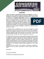 Reglamento de Presentacion Evaluacion y Seleccion de Trabajos I MINER NORTE 2013
