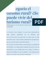 Es Negocio El Turismo Rural