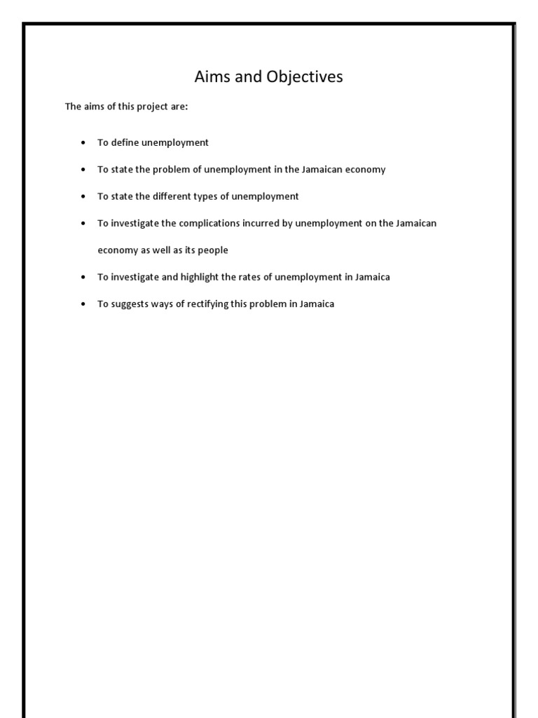 unemployment in jamaica questionnaire 21 core questionnaire jamaica survey of living conditions (jslc) jamaica is divided into fourteen administrative regions called parishes.