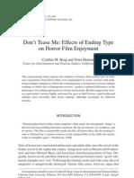 King & Hourani (2007) Effect of Horror Film Endings