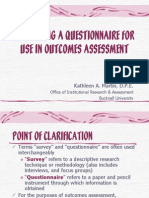 Developing a Questionnaire for Use in Outcomes Assessment