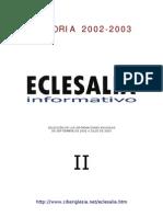 Eclesalia Informativo Memoria 2002-2003