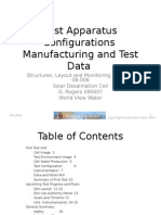 Test Apparatus Configurations Manufacturing and Test Data