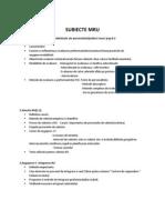 Subiecte MRU