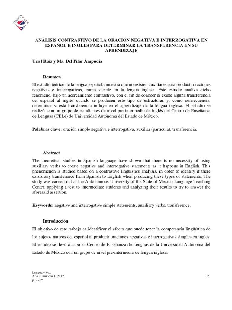 Analisis Contrastivo De La Oracion Negativa E Interrogativa