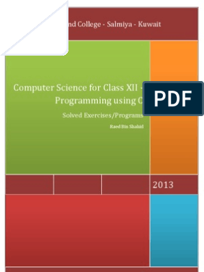 Computer Science for Class XII - Programming using C (Solved