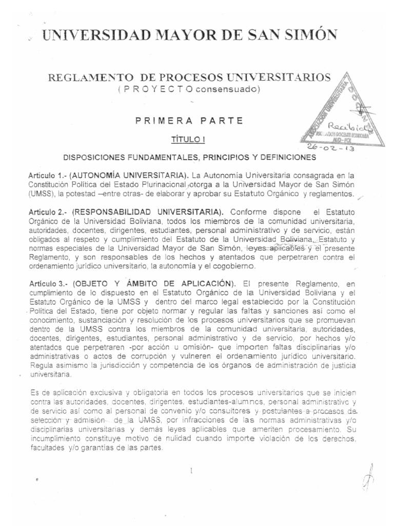 Reglamento de Procesos Universitarios