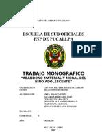 ABANDONO MATERIAL Y MORAL DEL NIÑO ADOLESCENTE 2007 de fer