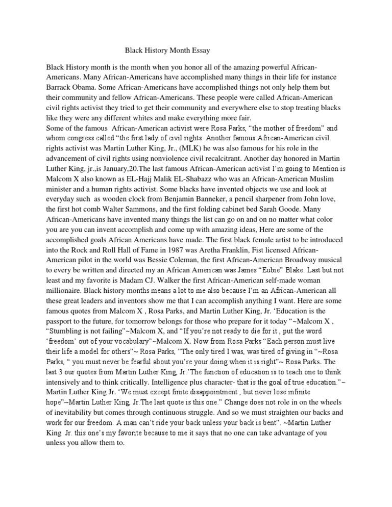 black history month essay