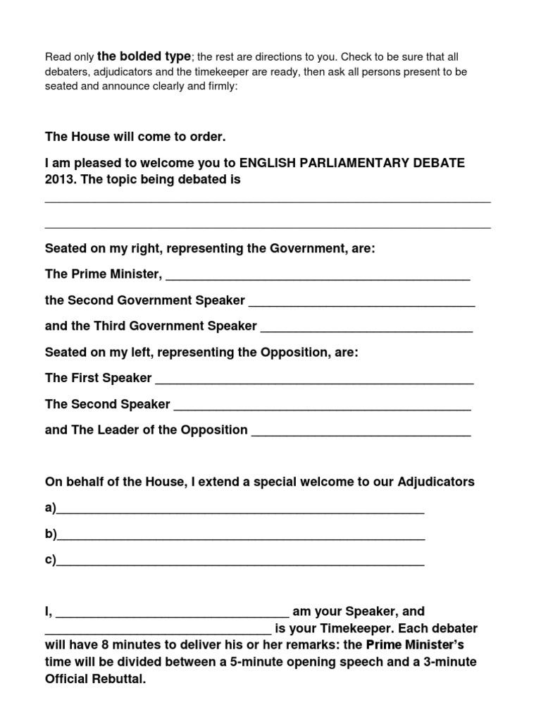 how to start a debate speech first speaker