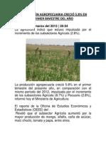 Producción Agropecuaria creció 5