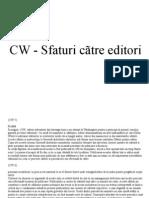 CW - Sfaturi cãtre editori