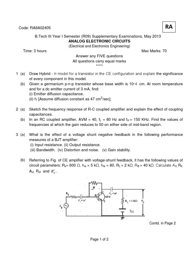 Ra 9a02405 Analog Electronic Circuits Amplifier Bipolar Junction Transistor