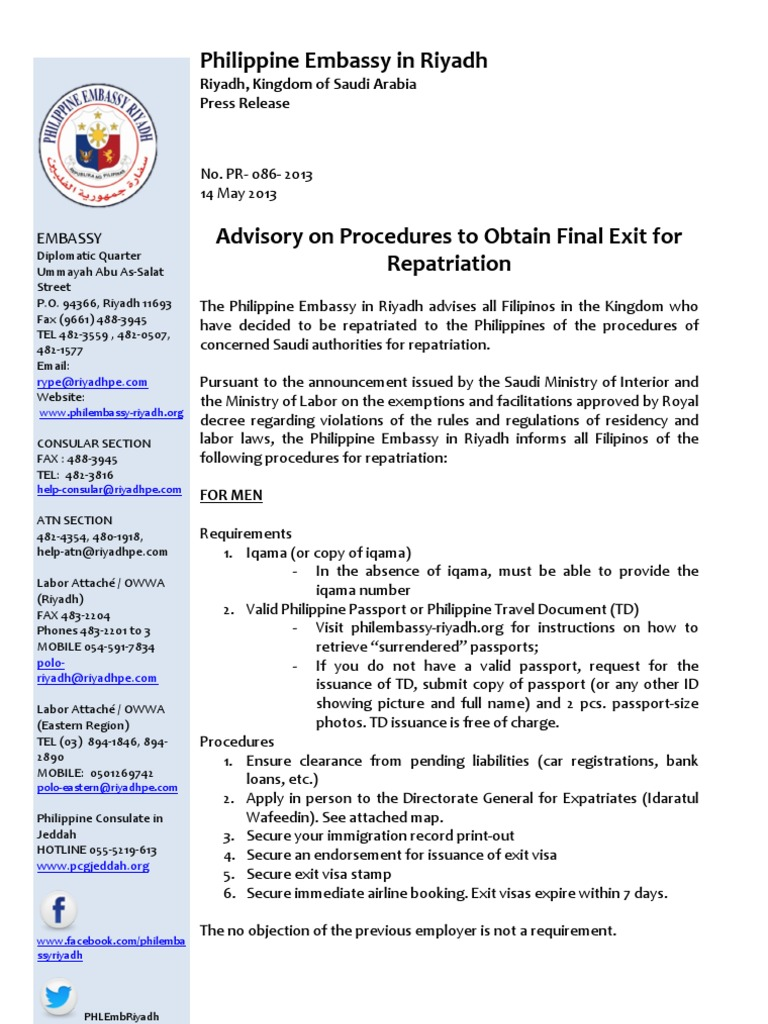 PR-086-2013 Advisory on Procedures to Obtain Final Exit for