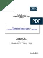 Memoire Sur La Performance Du Controle Fiscal Au Maroc