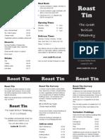 Roast Tin - The Menu
