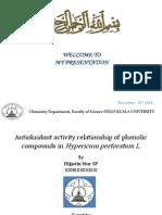 hubungan aktifitas antioksidan senyawa fenolik dalam Hipericum pervoratum L