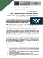 BOLETÍN DE PRENSA Nª 039-2013