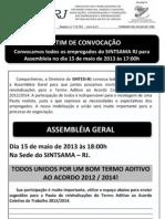 Boletim Sintsama Rj Convocacao Pauta Termo Aditivo Act 2012 2014 15 Maio