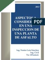Aspectos a Considerar en Una Inspeccion de Una Planta de Asfalto - Ing. Nestor Luis Sanchez