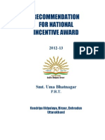 Form for Incentive Award