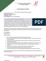 Program Manager Job Posting