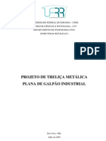 Projeto de Trelica Metalica Plana de Galpao Industrial