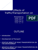 Effects of Traffic on urban environment